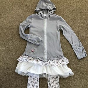 Naartjie Tulle floral Gray Dress & Leggings size 9